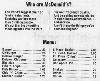 McDonald's menu, Sydney Morning Herald, 1972